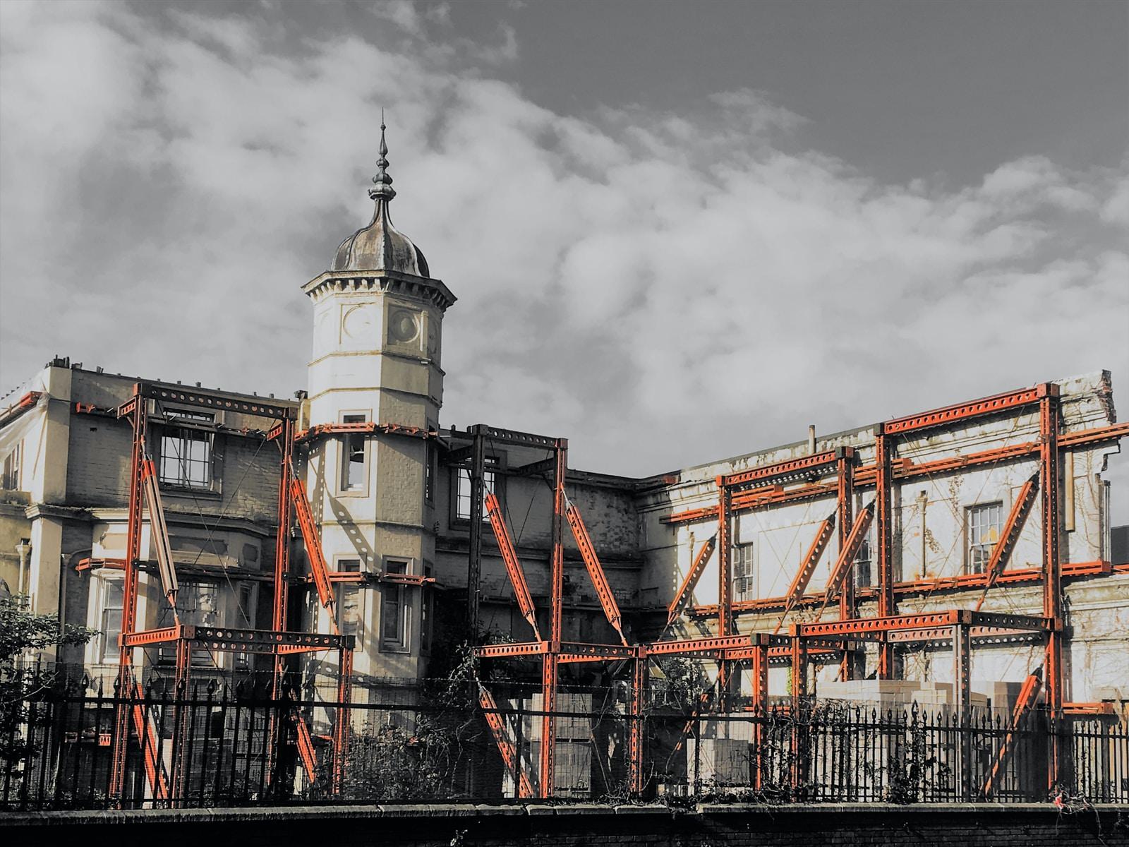 orange and grey church building
